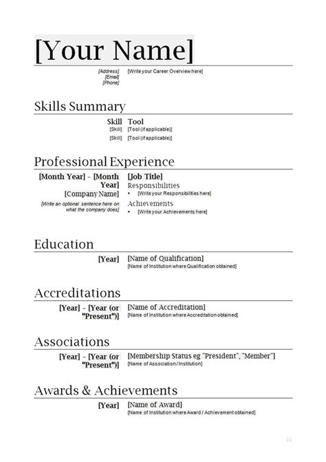 free basic resume format in word download basic resume