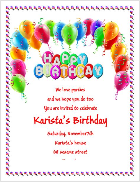 birthday party invitation flyer template 3 printable