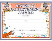 Science Award Certificate Template by Printable Science Achievement Awards Certificates
