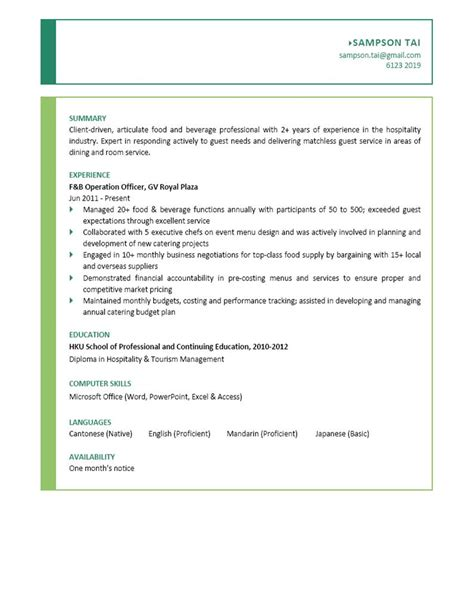 Resume F B by Sle Resume For F B Service Free Professional Resume