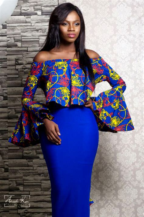 pinterest african skirts and tops styles afriken flare sleeves off shoulder top with plain skirt