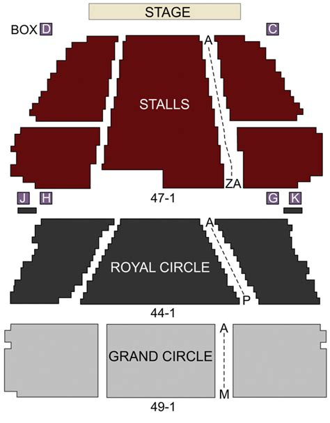 Lyceum Theatre London seating chart and stage