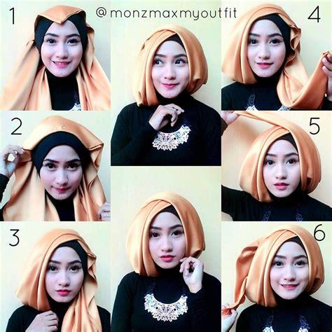 tutorial hijab pashmina satin wajah kotak cara memakai jilbab satin