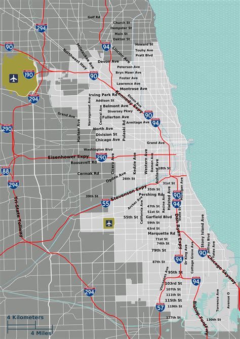 chicago city limits map file chicago overview map png