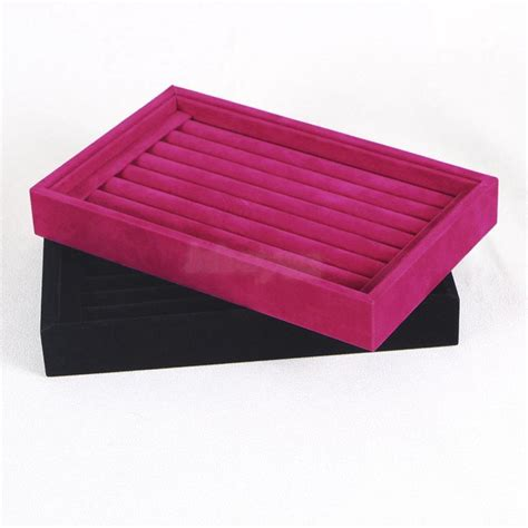 Retail Wood Velvet Ring Cufflinks Jewelry Display Tray Box Case Holder Organizer   eBay