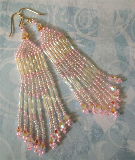fringe beaded earrings seed bead fringe earrings pink beaded earrings