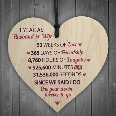 1st year wedding anniversary gifts for her 1st wedding anniversary gift wooden heart first wedding