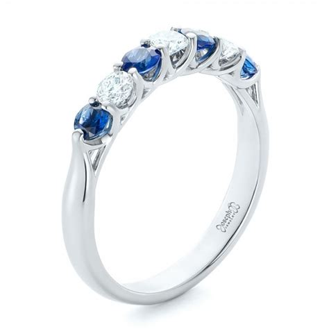 Wedding Bands With Sapphires And Diamonds by Custom Blue Sapphire And Wedding Band 102404