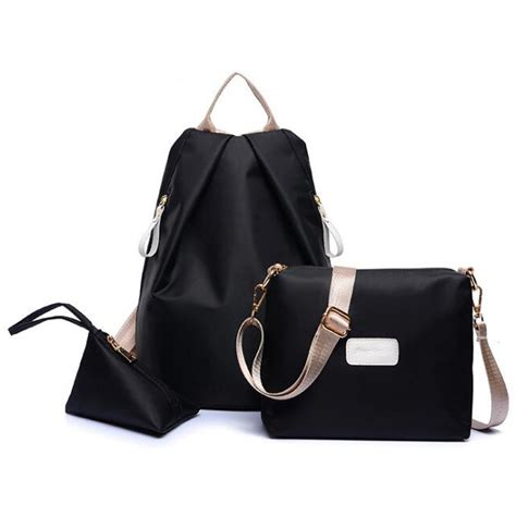 Tas Fashion Black jingpinpiju tas fashion wanita 3 in 1 black