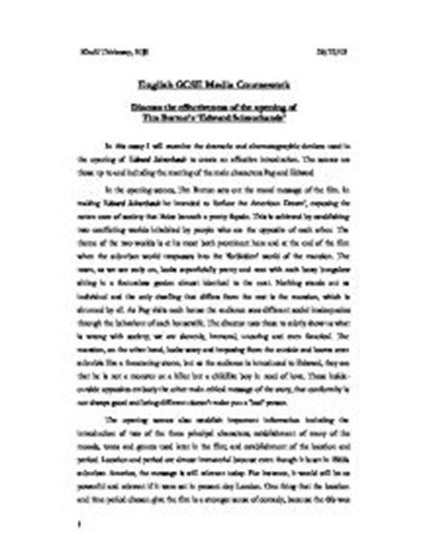 Edward Essays by Discuss The Effectiveness Of The Opening Oftim Burton S Edward Scissorhands Gcse