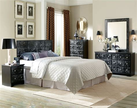 bed room set dramatic black and white marble suite phoenix bedroom
