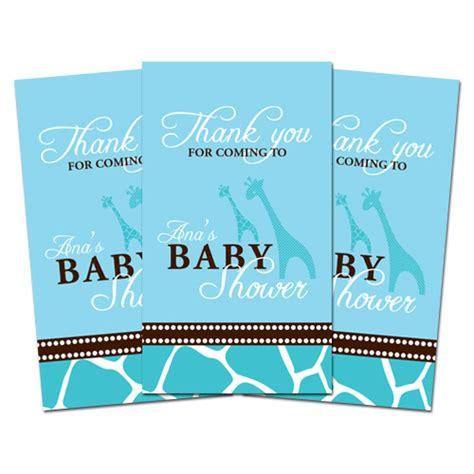 Baby Shower Thank You Tags by 10 Blue Giraffe Personalized Baby Shower Favors Thank You