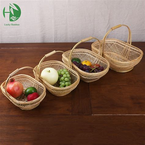 Baskets Handmade - bamboo small fruit baskest for storage with handle