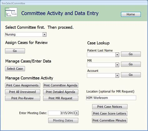 form design data entry prep ms software committee management and clinical peer