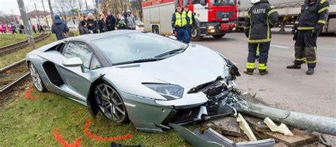 Lamborghini Crashes Lamborghini Aventador Roadster Crashes In Estonia Gtspirit