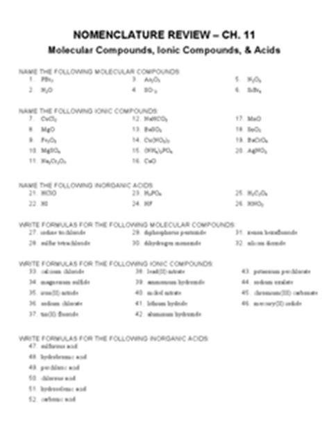 concept review section covalent bonds answers nomenclature review 9th 12th grade worksheet lesson planet