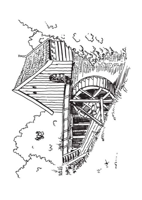 water mill coloring page coloring page windmills watermill coloring for adults