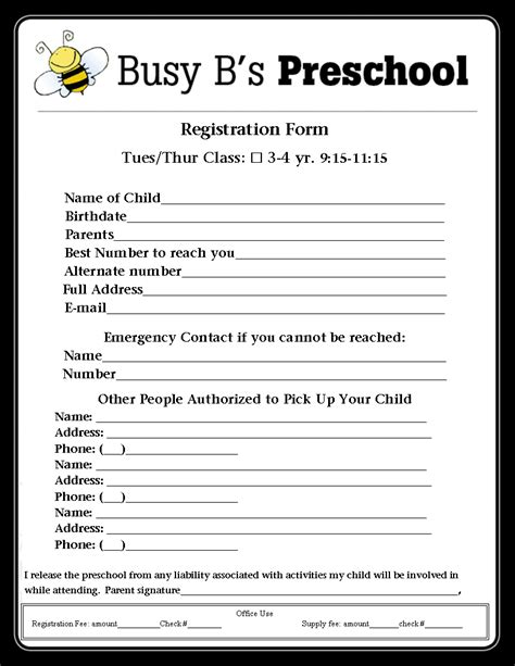 Preschool Application Form Template Busy B S Preschool Registration Form Lbl Pinterest Registration Form Preschool Forms And