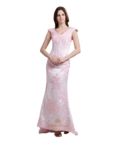 New Dress Payet Pink V Neck Dress Mermaid Elegan Dress Gown Light Pink Lace Applique V Neck Mermaid Prom Dresses With