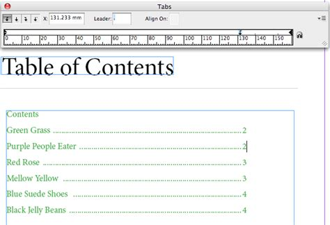 table of contents template indesign 20 indesign creating a table of contents tabs adobe