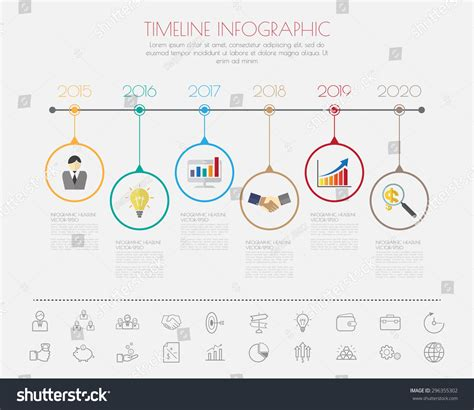 color step design  colour icon timeline template