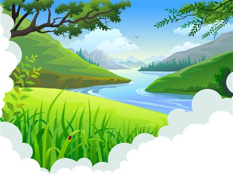 Cartoon Tropical Landscape Backgrounds Blue Design Green Nature Templates Free Ppt Landscape Powerpoint Template