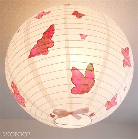 wonderful Suspension Chambre Ado #2: lampe-suspension-abat-jour-lustre-envol-de-papillons-rose-2.jpeg