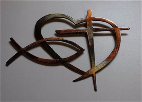 bold set of 3 decorative crosses copper country red brown heart cross and fish metal wall art decor