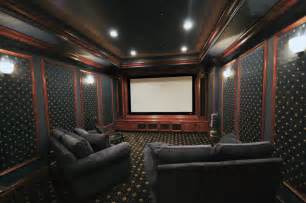 Black leather chairs stadium seating and classical cinema lighting
