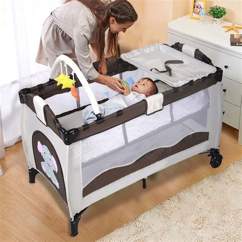 baby play bed new coffee baby crib playpen playard pack travel infant