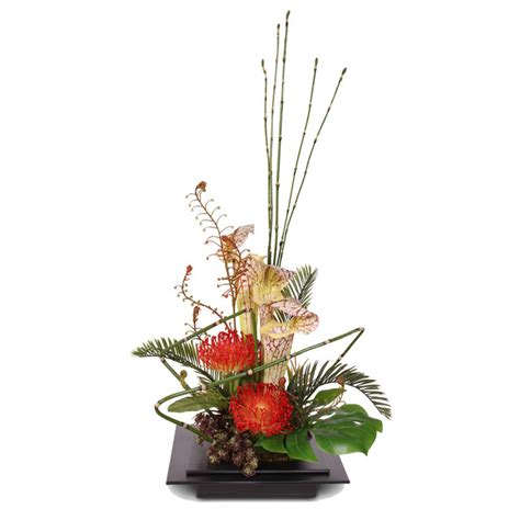 artificial floral arrangements shop houzz jenny silks exotic floral arrangement in metal container artificial flower