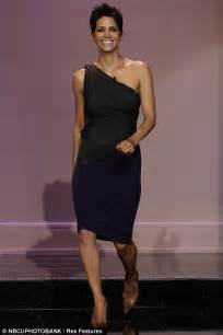 Leno wearing a one shoulder dress last night in burbank california