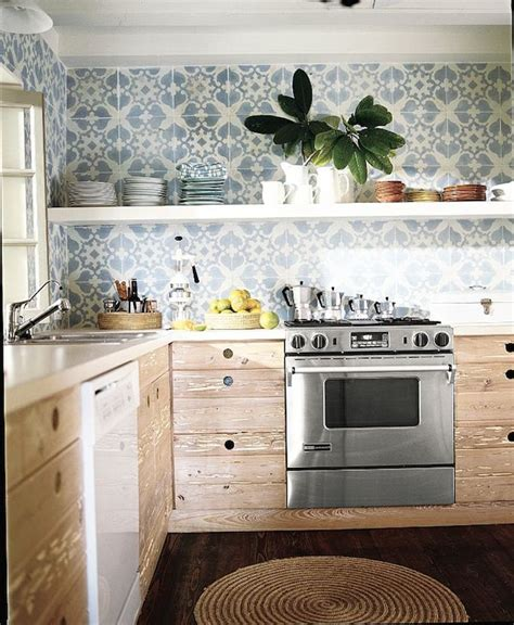 blue patterned kitchen tiles open shelving for an affordable kitchen update