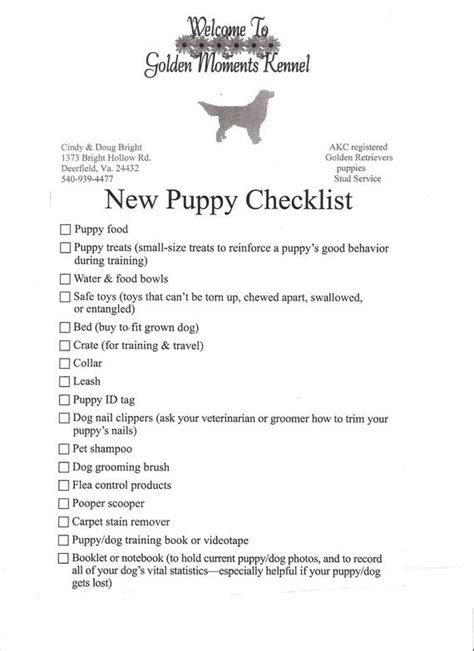 things you need for a new puppy puppy checklist