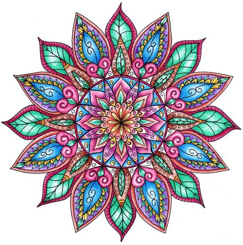 color mandala tattoo finished colouring floral mandala by welshpixie blinit