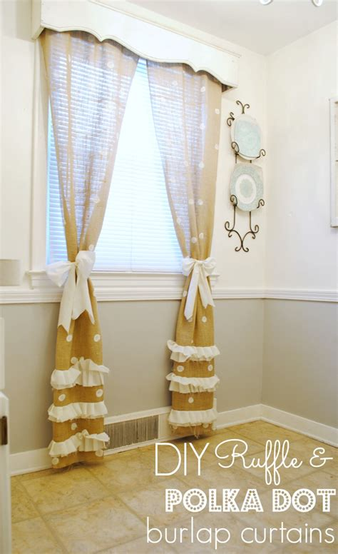 how to make lined burlap curtains diy polka dot burlapurtains with ruffled accent for home