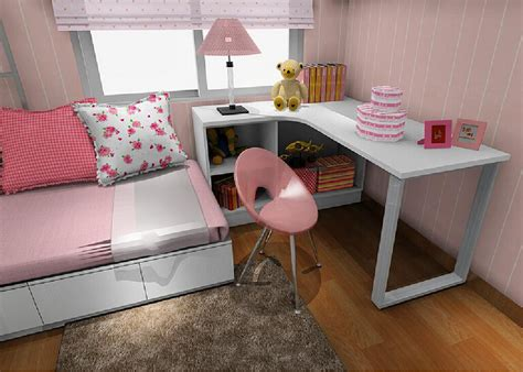 bedroom with desk pink girls bedroom with corner desk 3d house free 3d house pictures and wallpaper