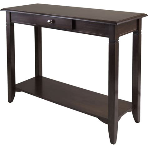 sofa tables at walmart nolan hall console table cappuccino walmart com