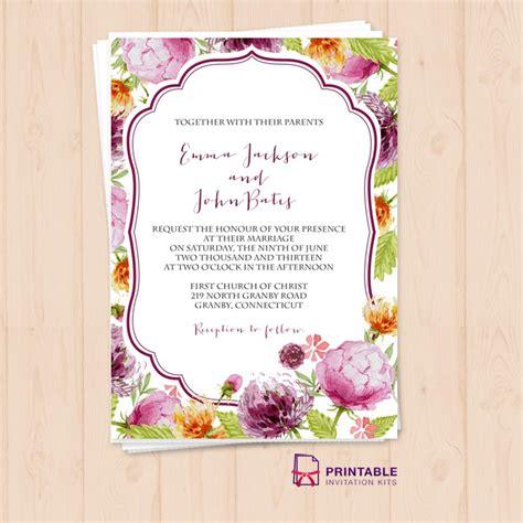 free printable wedding invitation watercolor watercolor wedding flowers invitation template wedding