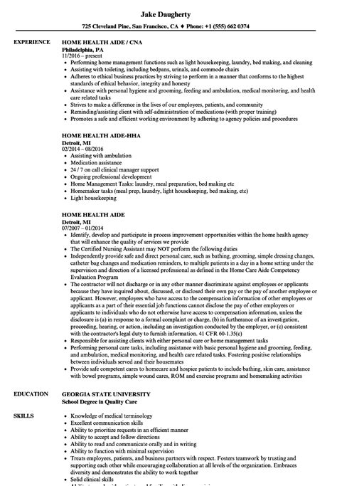 Resume For Home Health Aide by Home Health Aide Resume Sles Velvet