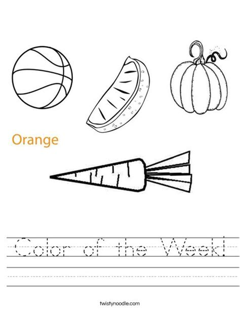 orange color activity sheet other colors the preschool color of the week worksheet twisty noodle