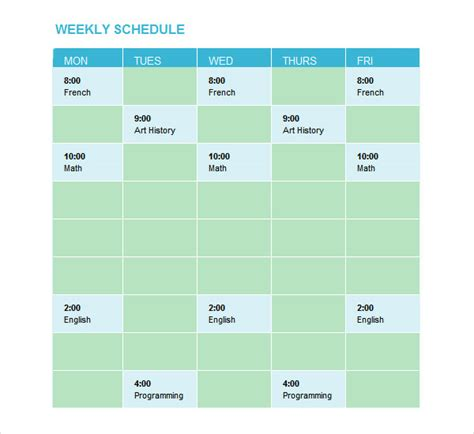 weekend schedule template sle weekend schedule 6 documents in word pdf