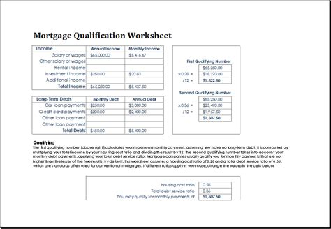 Mortgage Qualifying Letter printables mortgage pre qualification worksheet