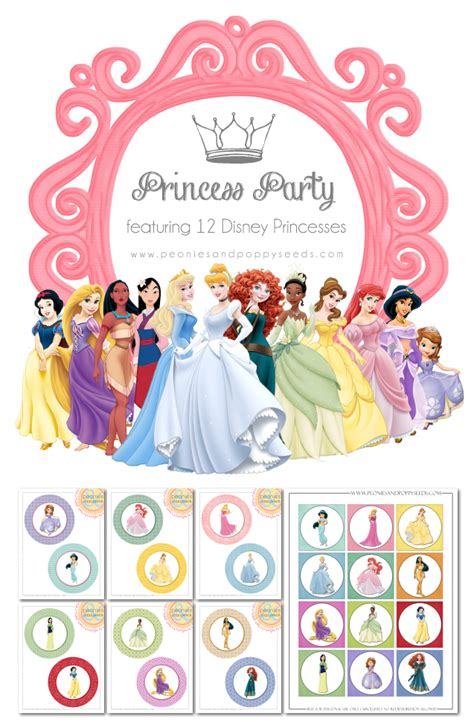 free printable party decorations princess peonies and poppyseeds disney princess party printables
