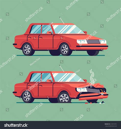 wrecked car before and after trendy flat design traffic car sedan stock vector