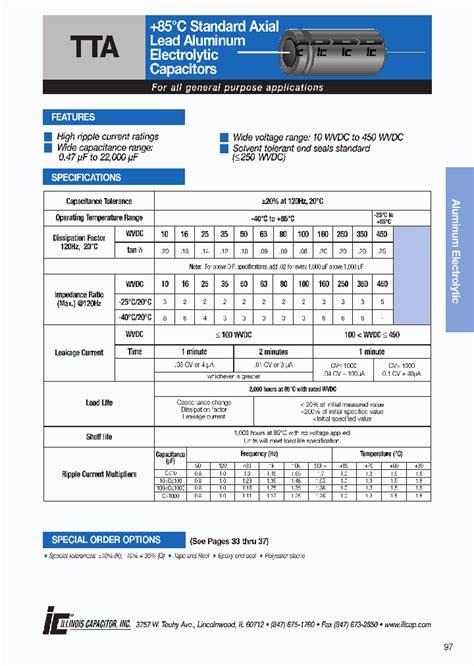 aluminum electrolytic capacitors datasheet 105tta350m 4411320 pdf datasheet ic on line