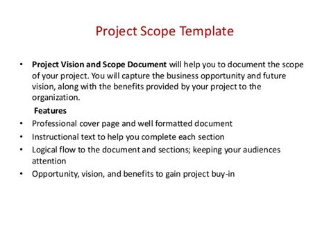 project vision template project management templates