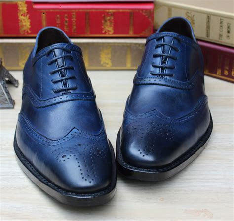 Handmade Shoesdark Blue Oxford Shoes - luxury mens goodyear shoes navy blue mens dress shoes
