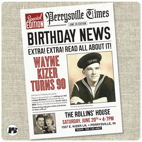 newspaper invitation template newspaper style birthday invitation card printable