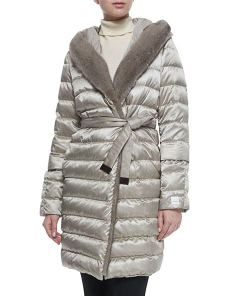 Quilted Fur Coat by Maxmara Fur Trimmed Quilted Mid Length Puffer Coat